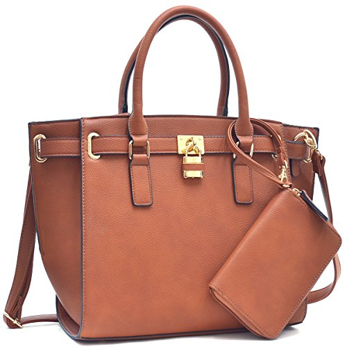 dasein-womens-buffalo-faux-leather-belted-padlock-satchel-handbag-tote-with-coin-purse-shoulder-stra