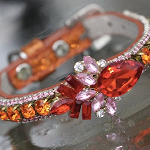 Cat Collars, Orange Fire Opal and Pink Tourmaline Crystals Rhinestones - October Birthstone - Cat Pet Jewelry Collar Necklace, Rockstar Pet Collars TM, Sizes Extra Small - Small, USA