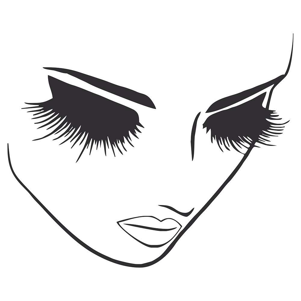 JUEKUI Lash Eyelash Wall Decor Stickers Removable Vinyl Decal Beauty Salon Hairstyle Hairdresser Spa Room Makeup WS36 (Black, M 42x51cm)