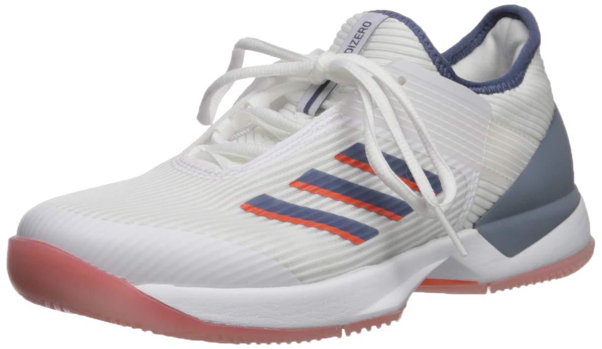 adidas Women's Adizero Ubersonic 3 Tennis Shoe, White/tech Ink/True Orange, 5 M US
