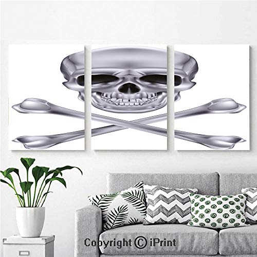 Modern Salon Theme Mural Vivid Skull and Crossbones Dangerous Scary Dead Skeleton Evil Face Halloween Theme Decorative Painting Canvas Wall Art for Home Decor 24x36inches 3pcs/Set, Dimgray -
