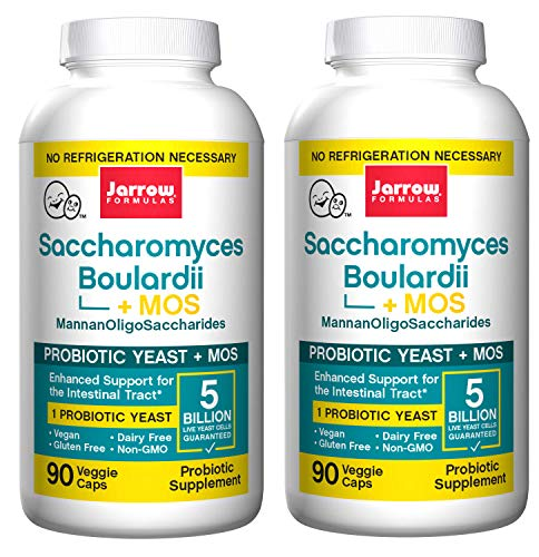 Jarrow Formulas Non Dairy Saccharomyces Boulardii+MOS Probiotic Supplement Provides Enhanced Support to The Intestinal Tract with 5 Billion Organisms Per Capsule (90 Veggie Caps) Pack of 2