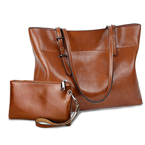 Leather Pocketbook - YALUXE Women's Soft Leather Work Tote Shoulder Bag with Wallet (Upgraded 2.0) Brown