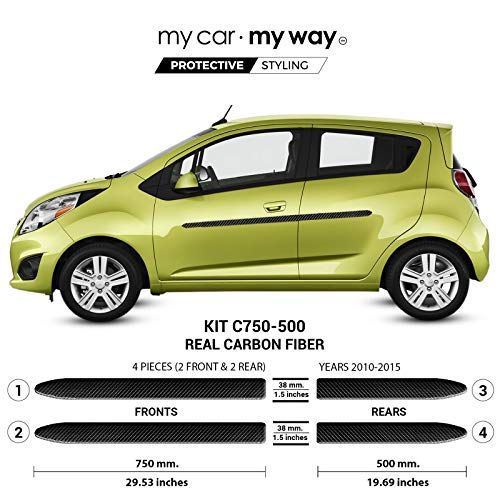 My Car My Way (Fits) Chevrolet Spark Hatchback 2010-2015 Real Carbon Fiber Body Side Molding Cover Trim Door Protector