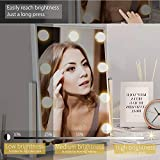 FENCHILIN Hollywood Mirror with Light Large Lighted Makeup Mirror Vanity Makeup Mirror Smart Touch Control 3Colors Dimable Light Detachable 10X Magnification