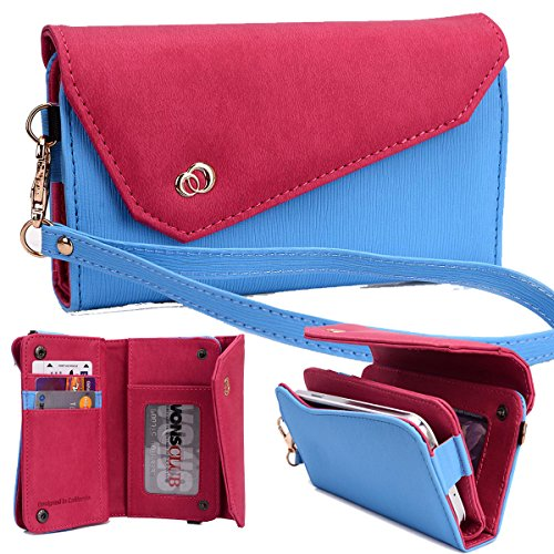 NuVur Universal Textured All-in-One Wallet Clutch Smartphone Wristlet Fits Samsung Galaxy Nexus I9250M, LTE L700, Pop SHV-E220, Premier I9260, S4 SCH-I545 Blue/Fuchsia