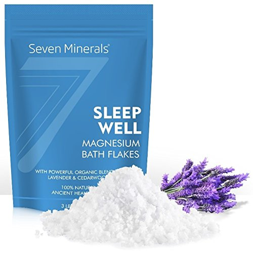 New SLEEP WELL Magnesium Chloride Flakes 3lb - Absorbs Better than Epsom Salt - Unique & Natural Full Bath Soak Formula for Insomnia Relief & Healthy Sleep - With USDA Organic Cedarwood & Lavender