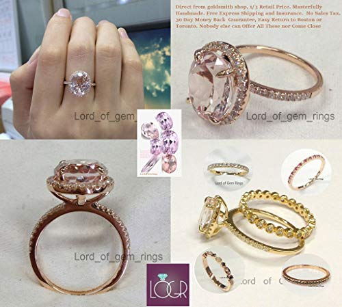 Oval Morganite Engagement Ring Pave Diamond 14K Rose Gold 10x12mm ()