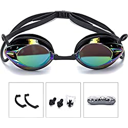 Swimming Goggles Athletics Plating Pro Performance UV Protection Anti-Fog Swim Glasses Adult women men by onenice (Black)
