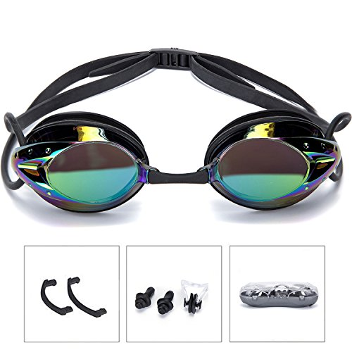 Swimming Goggles Athletics Plating Pro Performance UV Protection Anti-Fog Swim Glasses Adult women men by onenice - Bridge Goggles Swimming Nose