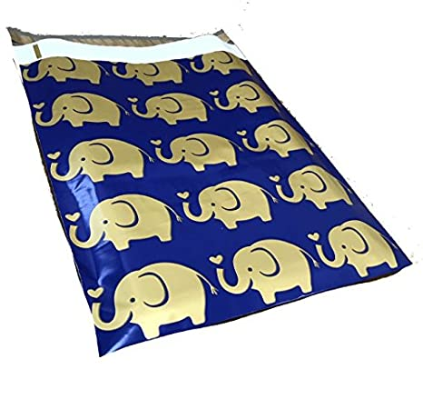 6X9 Poly Mailers Elephant Designer Mailers Custom Boutique Shipping Bags Blue /& Gold Plastic Shipping Envelopes #SmileMail 100 10x13