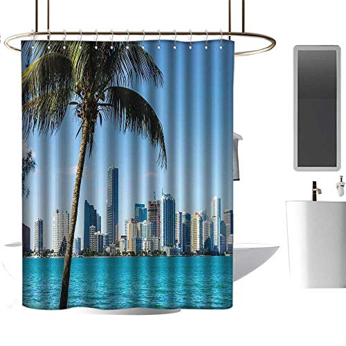 Extra Wide Shower Curtain Coastal,Miami Downtown with Biscayne Bay Buildings and Palm Tree Panoramic Art,Sky Blue Aqua Green,Hand Drawing Effect Fabric Shower Curtains 54