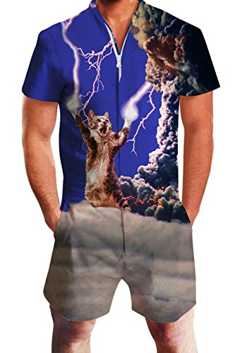 Wise Man Outfit (Men's Rompers Male Zipper Jumpsuit Shorts Crazy Lightning Cat Printed One Piece Slim Fit Outfits Bro Short Sleeve)