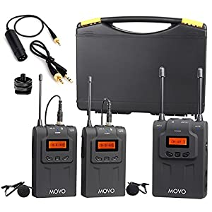Movo WMIC80 UHF Wireless Lavalier Microphone System with 2 Bodypack Transmitters, Portable Receiver, 2 Lav Mics, & Shoe Mount for DSLR Cameras (330' Range)