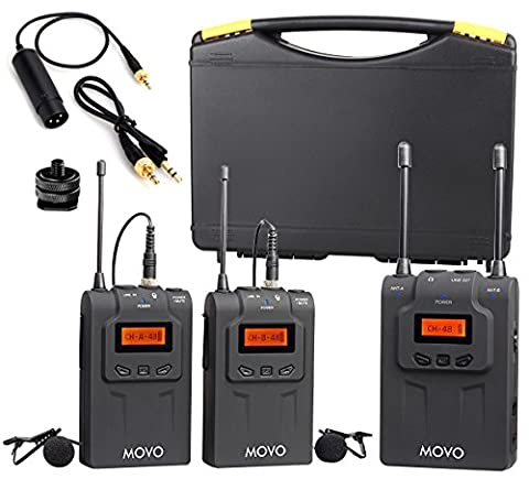 Movo WMIC80 UHF Wireless Lavalier Microphone System with 2 Bodypack Transmitters, Portable Receiver, 2 Lav Mics, & Shoe Mount for DSLR Cameras (330' (Broadcast Tv Transmitter)