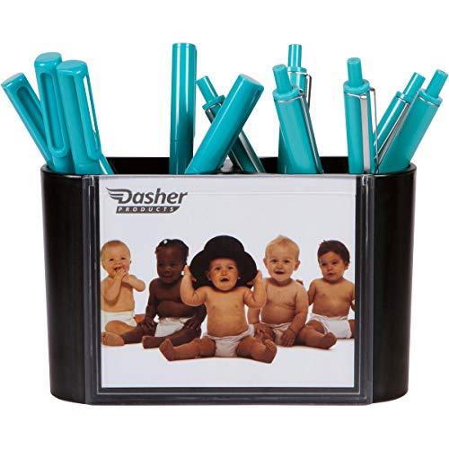 Desk Picture Frames for Office - Pen Holder for Desk in Black, Double Sided Picture Frames for Photos on Front and Back, Unique Desk Organizer for Pens, Pencils, Supplies, and - Pencil Holder Photo Frame