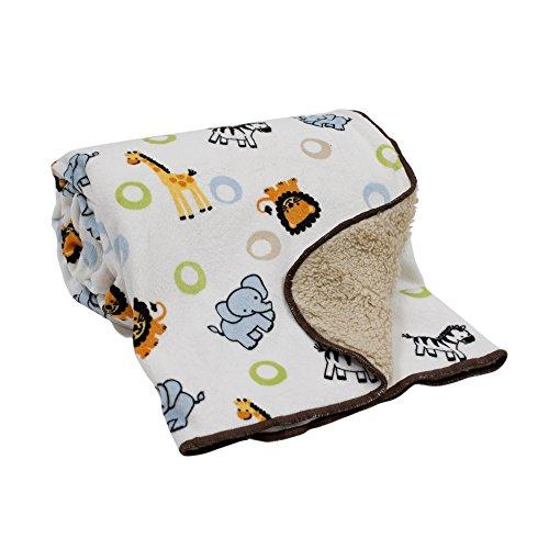 ngle Buddies Velour Sherpa Blanket (Baby Boy Jungle)