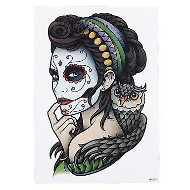 Top WST 1pc Flour Women Makeup Owl Femme Fatale Women Men Body Art Tattoo Waterproof Temporary Tattoo Sticker HB-281 free shipping