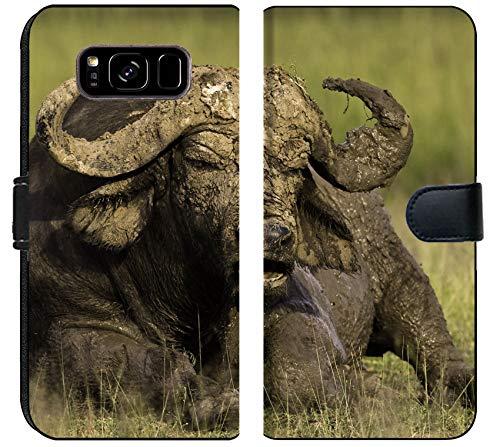 Liili Samsung Galaxy S8 PlusPlus Flip Micro Fabric Wallet Case African Cape Buffalo Photo 20215705 ()