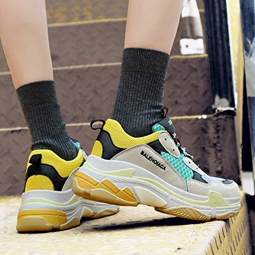 Yellow De Libre Aire Parejas De Deporte Respirable Zapatillas Zapatillas Calzado Planos YR De Para R Deporte Al Senderismo Cordones De Para Damas Con Zapatillas Deporte WSvvFqw1R7