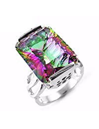 GOMORINGS Rings 14ct Rainbow Fire Mystic Topaz Exquisite Solid 925 Sterling Silver Luxury Set