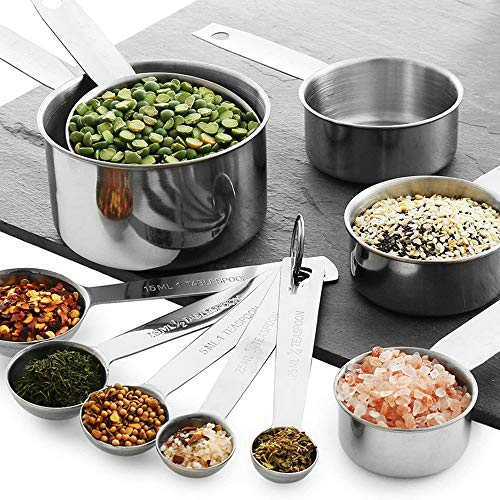 Measuring Cups Stainless Steel and Spoons Set of 12 Pieces - 5 Nesting Cups and 5 Stackable Spoons ,1 measuring ruler, 1 holding spoon- Durable Professional Kitchen Measuring Kit