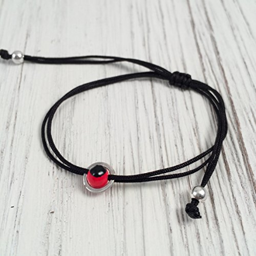- Black String Bracelet, Sterling Silver 925 Circular Band with Small Red and Black Huayruro Seed Charm, Peruvian 'Good Fortune' Adjustable Thread Cord, Friendship Bracelet, Handmade in Peru