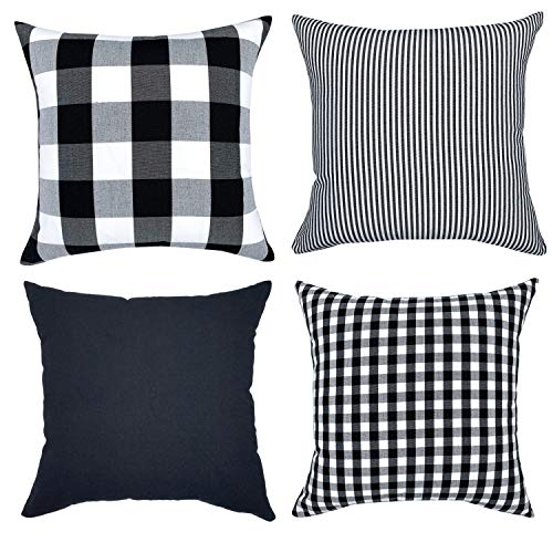 (YOUR SMILE Farmhouse Buffalo Plaid Throw Pillow Covers 18x18 Inch Set of 4, Throw Cushion Case Holiday Decor Cotton Canvas for Sofa(Pure Color, Checkers Plaid, Stripe, Lattice) (18'' x 18'', Black))