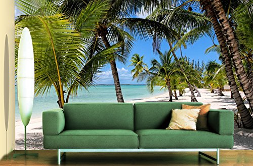 - 3D Beach Tree Scenery 071 Wall Paper Wall Print Decal Wall Deco Indoor wall Murals Removable Wall Mural | Self-adhesive Large Wallpaper , AJ WALLPAPER Carly (164