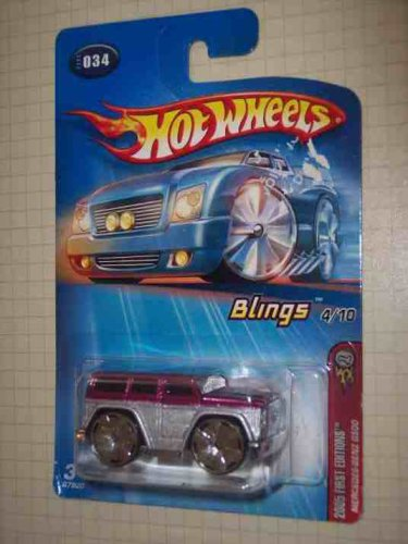 2005 First Editions Blings #4 Mercedes Benz G500 Purple And Silver #2005-34 Collectible Collector Car Mattel Hot Wheels -