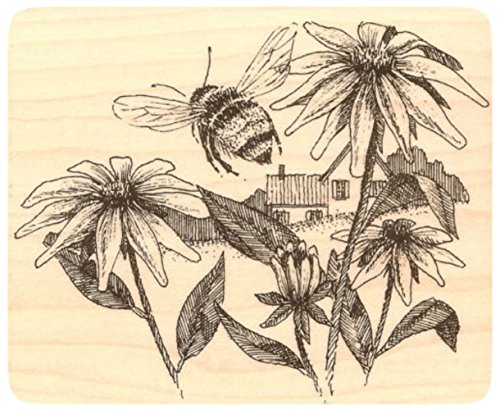"UPC 635963374341, {Single Count} Unique & Custom (4 1/4"" by 3 1/2"" Inches) ""Bee & Flowers Countryside Scene"" Rectangle Shaped Genuine Wood Mounted Rubber Inking Stamp"