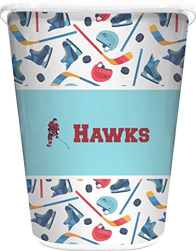 RNK Shops Hockey 2 Waste Basket - Single Sided (White) (Personalized)