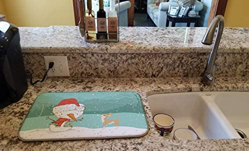 14 x 21 multicolor Carolines Treasures CK2081DDM Tan Chihuahua Snowman Christmas Dish Drying Mat