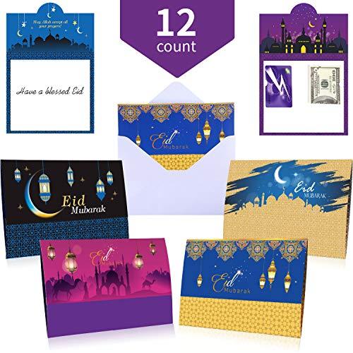 Greetings Money Holder - Ramadan Eid Mubarak Money and Gift Card Holders Eid Mubarak Money Cards Money Holders Ramadan Greeting Cards for Muslim Party Supplies with Envelopes (12)