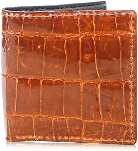 Genuine Alligator Skin Hipster Bifold Leather Wallet Handmade with 12 Card Slots
