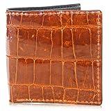 Genuine Alligator Skin Hipster Bifold Leather Wallet Handmade with 12 Card Slots (Cognac)