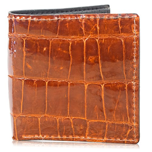 Genuine Alligator Skin Hipster Bifold Leather Wallet Handmade with 12 Card Slots (Leather Mens Hipster)