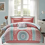 Intelligent Design Loretta Comforter Set Twin Size Bed in A Bag - Coral, Aqua, Bohemian Chic Medallion – 7 Piece Bed Sets – Ultra Soft Microfiber Teen Bedding for Girls Bedroom
