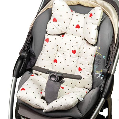 Lenkies Reductor de cochecito universal, reductor de cubierta de asiento de coche silla de bebe cuna para bebe, colchon transpirable acolchado algodon antibacteriano resistente al sudor