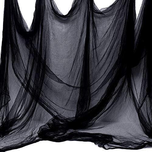 Voodoo Decorations Halloween (Whaline Halloween Black Creepy Cloth 276 x 87 inch Spooky Halloween Decoration for Haunted Houses Party)