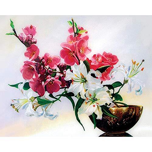 (5D Diy Diamond Paintings Diamond Cross -Rhinestone Diamond- Mouthwatering Flowers(Frameless))