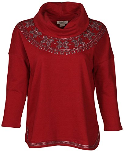 Cowl Neck Jeans - Lucky Brand Jeans Women's Embroidered Cowl Neck Top-Deep Red-Medium