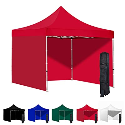 Vispronet 10x10 Pop Up Canopy Tent and 3 Side Walls – Commercial Grade Steel Frame with Water-Resistant Canopy Top and Sidewalls – Wheeled Canopy Bag and Stake Kit Included (Red) : Garden & Outdoor