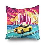 iDecorDesign Throw Pillow Covers Taxi Cab Profile Urban New Yellow Home Decor Sofa