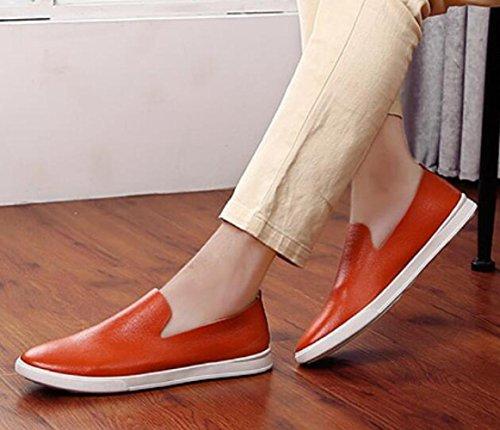 De De Hombre Juegos Y Casuales Naranja Primavera Zapatos Calzado Cuero Microfibra Pies para De Hombres Calzado Conducir para Verano XTxFxwAv