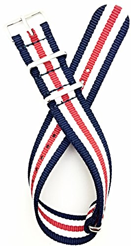 20mm Red/White/Navy Blue NATO style Nylon Fabric Watch Band | Vintage, Heavy Duty Replacement Wrist Strap that brings New Life to Any Watch