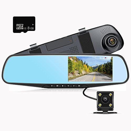 """Mirror Dash Cam  4.3""""LCD Screen FHD 1080P 140° Wide Angle Dual Lens Car Camera Front And Rear Dashboard Camera DVR With 8GB SD Card by Gaminol"""
