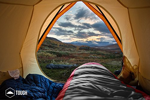 "Mummy Sleeping Bag with Compression Sack - Winter Sleeping Bag for Camping, Hiking, Backpacking & Travel - Waterproof, Compact and Ultralight Cold Weather Sleeping Sack for Adults up to 6'6 7 REST ASSURED. Immerse in a multitude of stars in the night sky! Then rest where you hear nothing but the winter wind. Now that's a 5 (billion or more!) star accommodation. Finally, get lost in a warmth that will leave you sleeping way past your alarm clock. Be warned though, the snooze button will be ignored with this sleeping bag... and waking up at lunch. FIT FOR A KING. Pharaohs boast of grand things. Look no further than the pyramids. Don't believe us? Let's not forget those big and tall coffins they fill when Osiris calls them. However, with this mummy sleeping bag, you get 6'6 ""fit for a king"" size. *Ceremonial wrapping cloth not included, of course*. Go ahead, sleep (and wake up) like royalty. YOU'VE BEEN ""WARMED"". This bag is perfect for 3 season camping with a temperature rating of 40-65F."