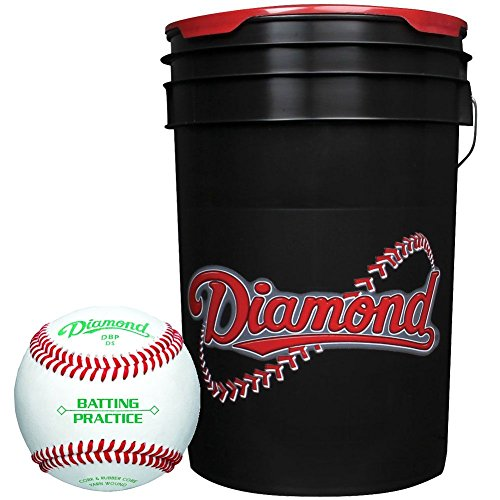 Diamond 6-Gallon Ball Bucket with 30 DBP Baseballs, (Diamond Bucket)