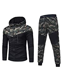 Sumen Men's Tracksuit Camouflage Sweatshirt Tops Pants Sets Sports Suit